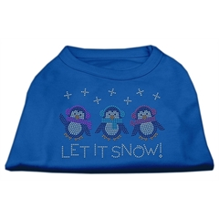Mirage Pet Products Let It Snow Penguins Rhinestone Shirt Blue XXXL (20)