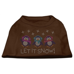Mirage Pet Products Let It Snow Penguins Rhinestone Shirt Brown Sm (10)