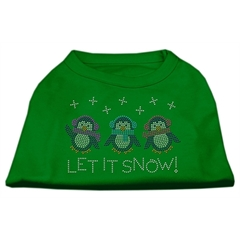 Mirage Pet Products Let It Snow Penguins Rhinestone Shirt Emerald Green Lg (14)