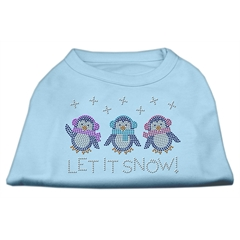 Mirage Pet Products Let It Snow Penguins Rhinestone Shirt Baby Blue XS (8)