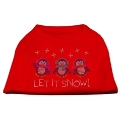 Mirage Pet Products Let It Snow Penguins Rhinestone Shirt Red XXL (18)