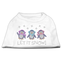 Mirage Pet Products Let It Snow Penguins Rhinestone Shirt White L (14)