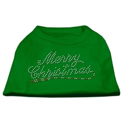 Mirage Pet Products Merry Christmas Rhinestone Shirt Emerald Green Lg (14)