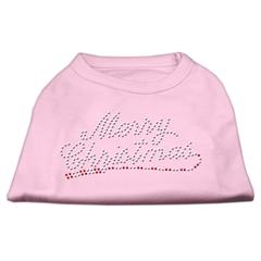 Mirage Pet Products Merry Christmas Rhinestone Shirt Light Pink XS (8)