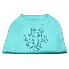 Mirage Pet Products Blue Paw Rhinestud Shirt Aqua XS (8)