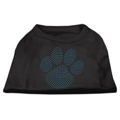Mirage Pet Products Blue Paw Rhinestud Shirt Black XXL (18)