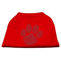 Mirage Pet Products Blue Paw Rhinestud Shirt Red XL (16)