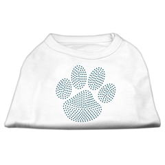 Mirage Pet Products Blue Paw Rhinestud Shirt White XL (16)