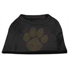 Mirage Pet Products Gold Paw Rhinestud Shirt Black L (14)