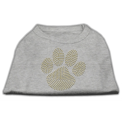 Mirage Pet Products Gold Paw Rhinestud Shirt Grey M (12)