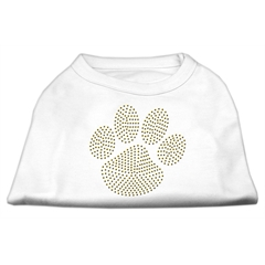 Mirage Pet Products Gold Paw Rhinestud Shirt White S (10)