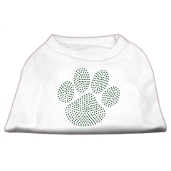 Mirage Pet Products Green Paw Rhinestud Shirts White S (10)