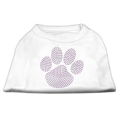 Mirage Pet Products Purple Paw Rhinestud Shirts White L (14)