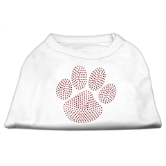 Mirage Pet Products Red Paw Rhinestud Shirts White XXL (18)