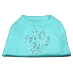 Mirage Pet Products Clear Rhinestone Paw Shirts Aqua XXXL(20)