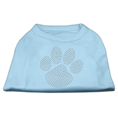 Mirage Pet Products Clear Rhinestone Paw Shirts Baby Blue XL (16)