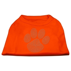 Mirage Pet Products Clear Rhinestone Paw Shirts Orange XXXL (20)