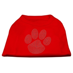 Mirage Pet Products Clear Rhinestone Paw Shirts Red XL (16)