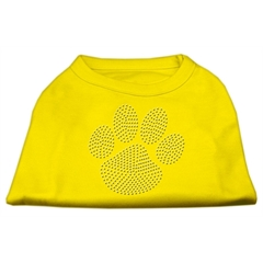 Mirage Pet Products Clear Rhinestone Paw Shirts Yellow XXXL (20)