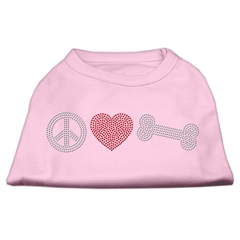 Mirage Pet Products Peace Love and Bone Rhinestone Shirt Light Pink M (12)