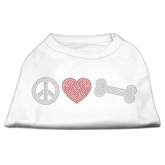 Mirage Pet Products Peace Love and Bone Rhinestone Shirt White XXXL(20)