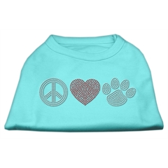 Mirage Pet Products Peace Love and Paw Rhinestone Shirt Aqua XL (16)
