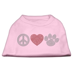 Mirage Pet Products Peace Love and Paw Rhinestone Shirt Light Pink XL (16)