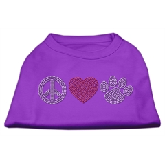 Mirage Pet Products Peace Love and Paw Rhinestone Shirt Purple XL (16)