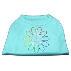 Mirage Pet Products Rhinestone Rainbow Flower Peace Sign Shirts Aqua XS (8)