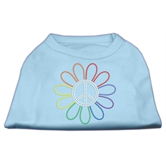 Mirage Pet Products Rhinestone Rainbow Flower Peace Sign Shirts Baby Blue XL (16)