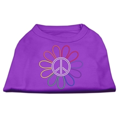 Mirage Pet Products Rhinestone Rainbow Flower Peace Sign Shirts Purple XXXL(20)