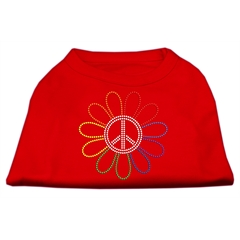 Mirage Pet Products Rhinestone Rainbow Flower Peace Sign Shirts Red L (14)
