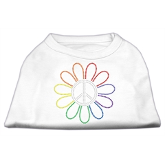 Mirage Pet Products Rhinestone Rainbow Flower Peace Sign Shirts White XXXL(20)