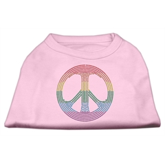Mirage Pet Products Rhinestone Rainbow Peace Sign Shirts Light Pink M (12)