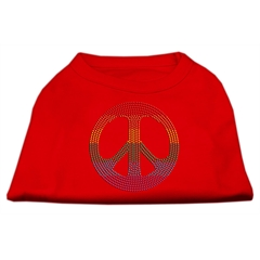 Mirage Pet Products Rhinestone Rainbow Peace Sign Shirts Red S (10)