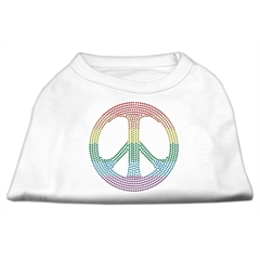 Mirage Pet Products Rhinestone Rainbow Peace Sign Shirts White XXL (18)