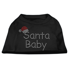 Mirage Pet Products Santa Baby Rhinestone Shirts  Black XS (8)