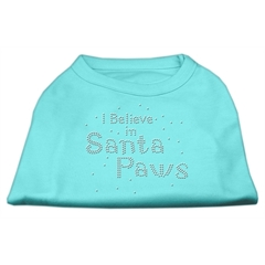 Mirage Pet Products I Believe in Santa Paws Shirt Aqua L (14)