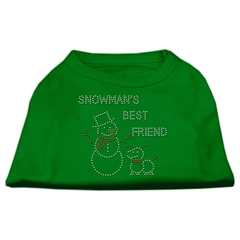 Mirage Pet Products Snowman's Best Friend Rhinestone Shirt Emerald Green Med (12)