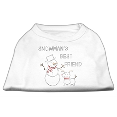 Mirage Pet Products Snowman's Best Friend Rhinestone Shirt White M (12)