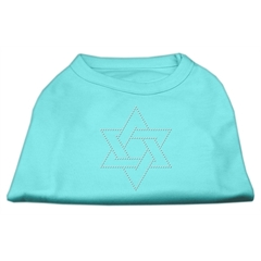 Mirage Pet Products Star of David Rhinestone Shirt   Aqua XXL (18)