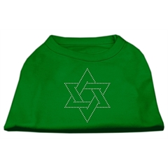 Mirage Pet Products Star of David Rhinestone Shirt Emerald Green Med (12)