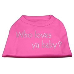 Mirage Pet Products Who Loves Ya Baby? Rhinestone Shirts Bright Pink S (10)