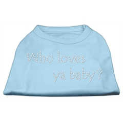 Mirage Pet Products Who Loves Ya Baby? Rhinestone Shirts Baby Blue M (12)