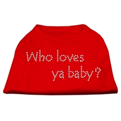 Mirage Pet Products Who Loves Ya Baby? Rhinestone Shirts Red L (14)