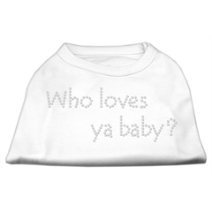 Mirage Pet Products Who Loves Ya Baby? Rhinestone Shirts White S (10)