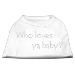 Mirage Pet Products Who Loves Ya Baby? Rhinestone Shirts White XS (8)