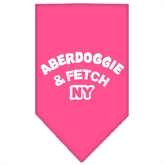 Mirage Pet Products Aberdoggie NY Screen Print Bandana Bright Pink Large