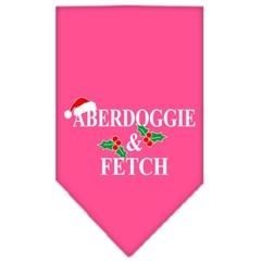 Mirage Pet Products Aberdoggie Christmas Screen Print Bandana Bright Pink Large
