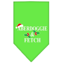 Mirage Pet Products Aberdoggie Christmas Screen Print Bandana Lime Green Large